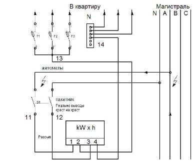 Часть схемы электрических
